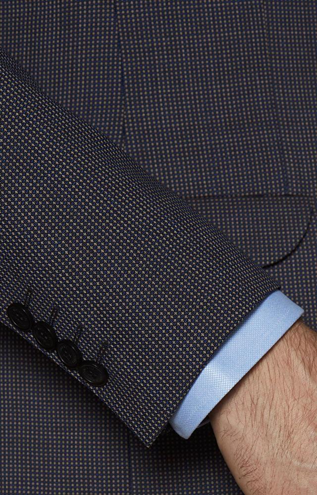 Dopasowany garnitur wełniany w kolorowy mikrowzór