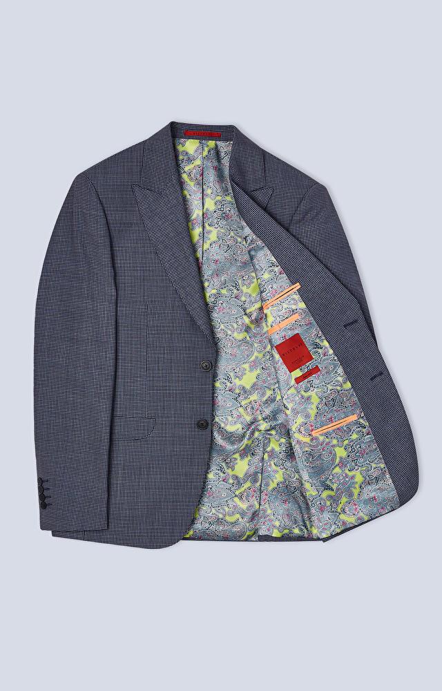 Dopasowany garnitur z kolorowym mikrowzorem