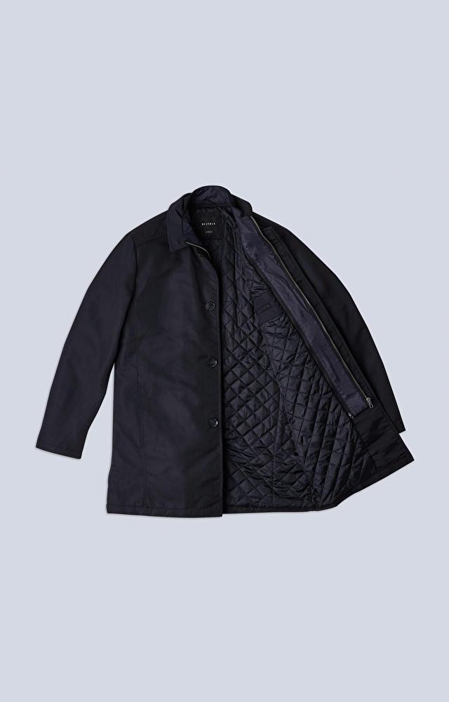 Ocieplany płaszcz z tkaniny technicznej