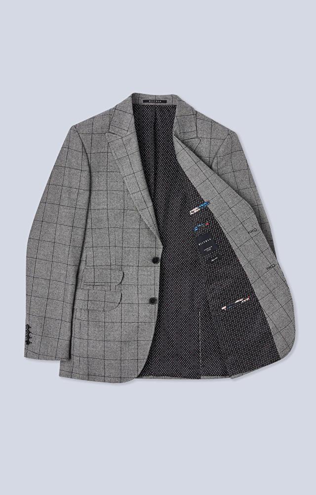 Dopasowany garnitur z wełny w kratę