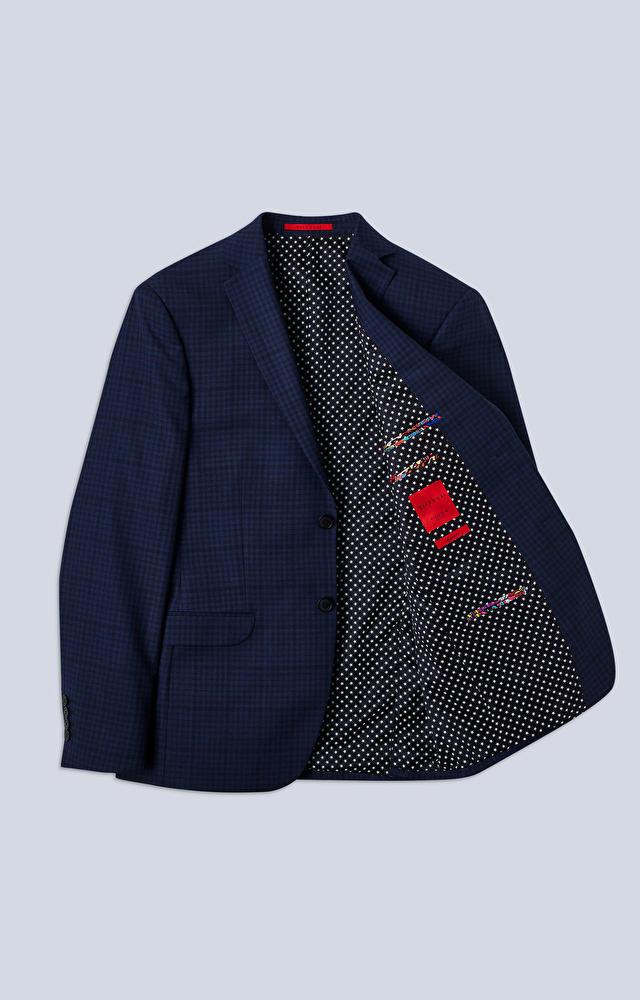 Dopasowany garnitur w kratę z dodatkiem bawełny