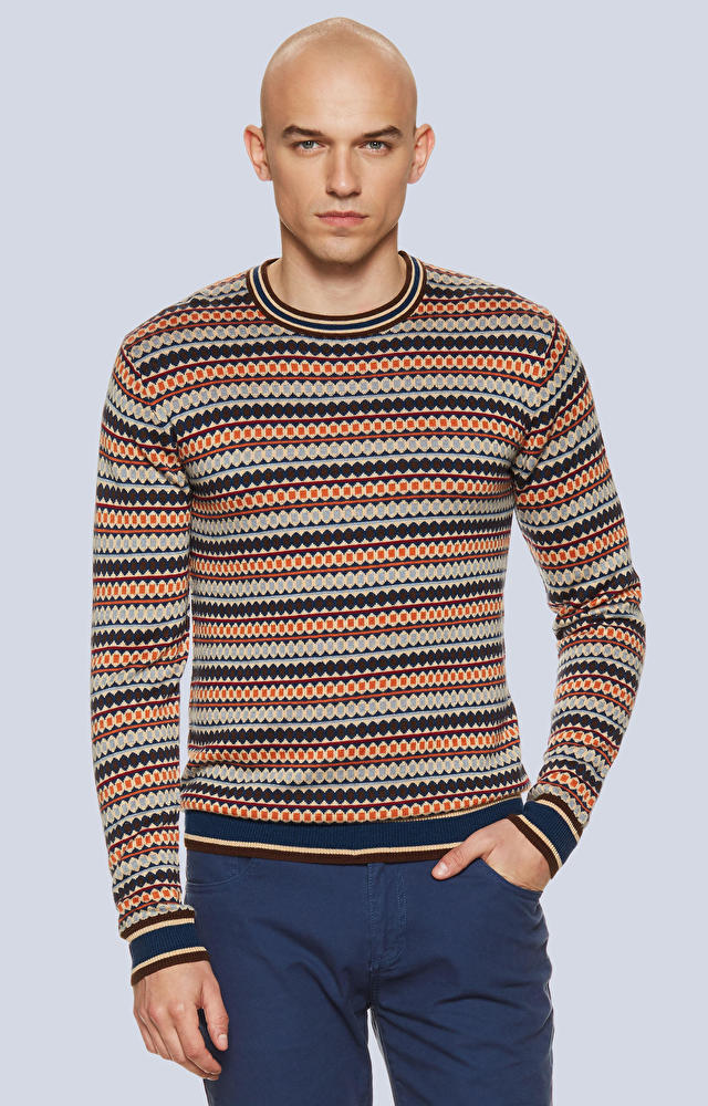 Miękki sweter w wielokolorowy wzór