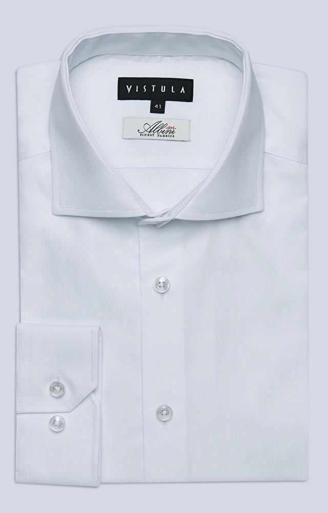 Koszula w prążki z włoskim kołnierzem