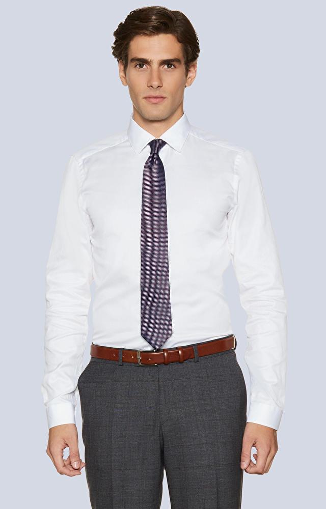 Dopasowana koszula z bawełny egipskiej  kołnierz kryte button-down