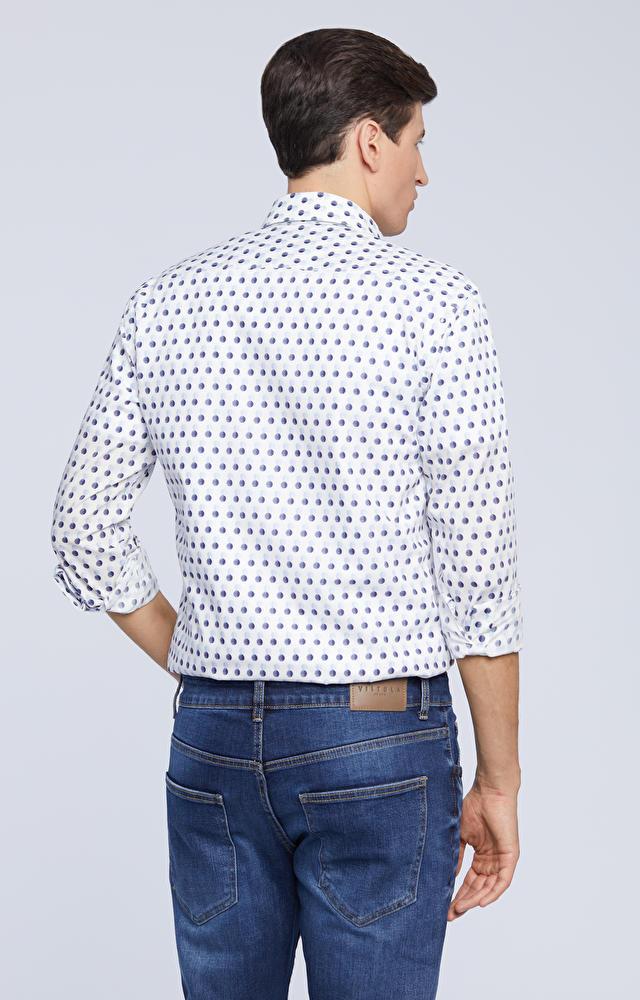 Koszula w mikrowzór, w kolorowe kropki
