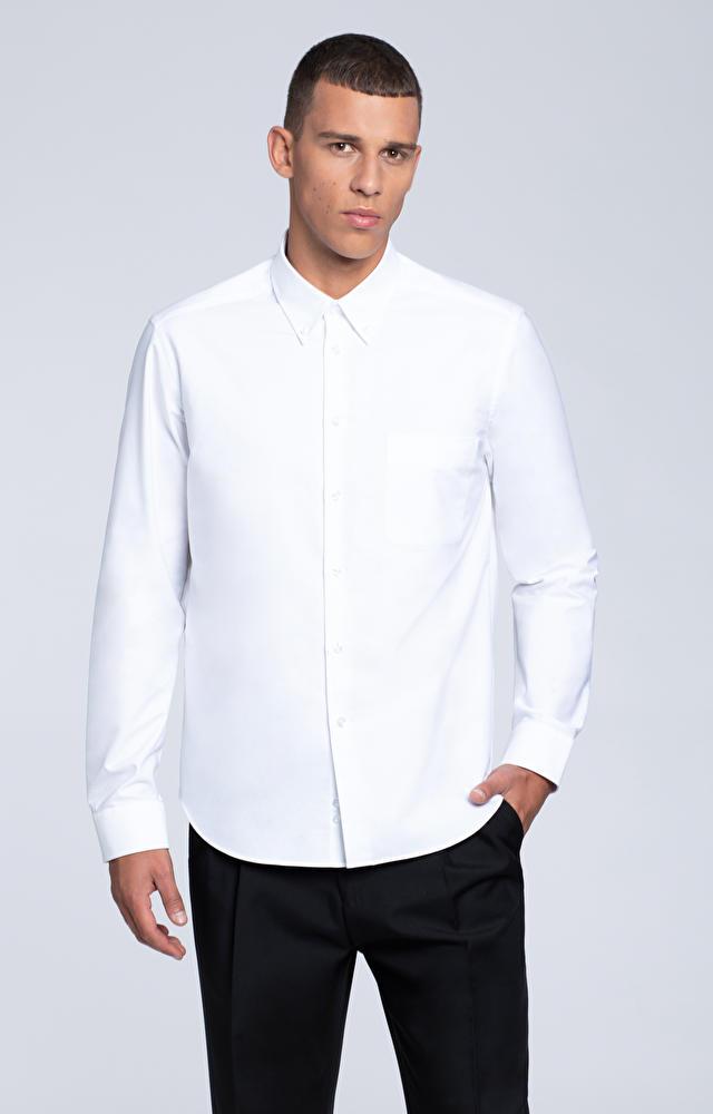 Luźna koszula z kieszonką, kołnierz kryte button-down