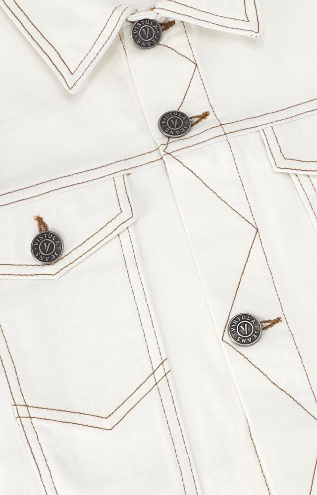 Kurtka jeansowa z ozdobnymi przeszyciami