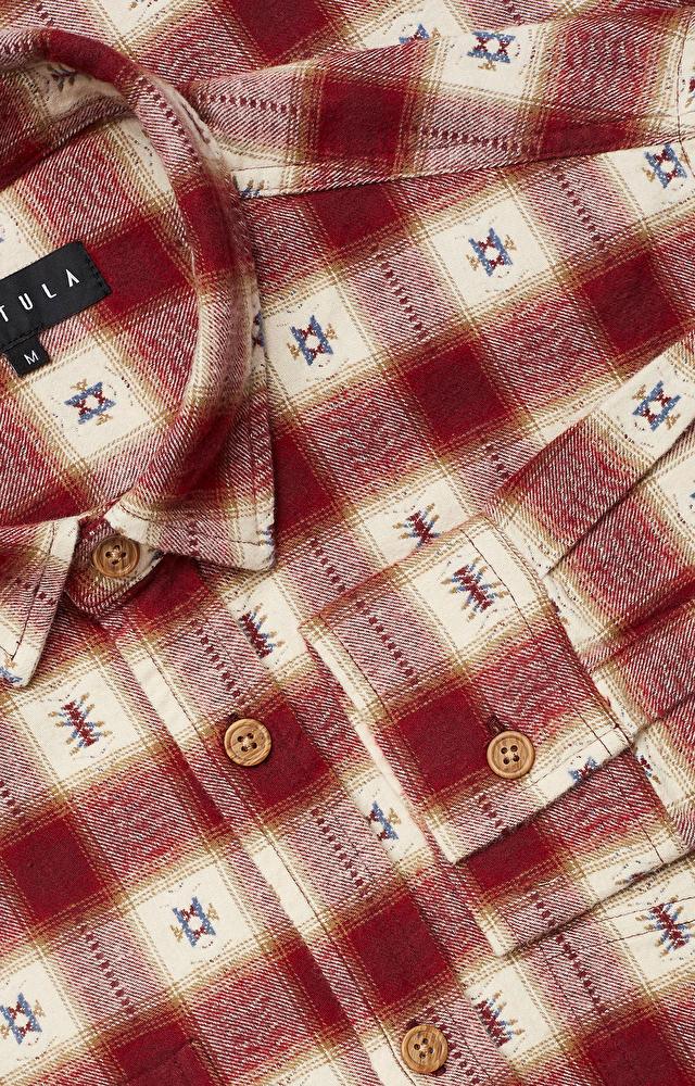 Koszula w geometryczny wzór z włoskim kołnierzem
