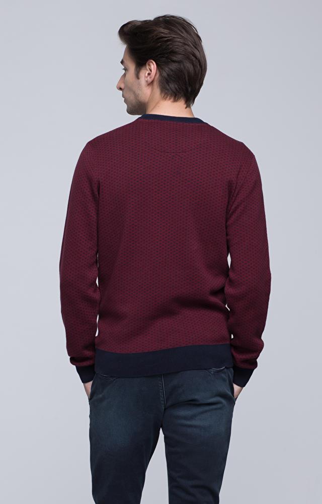 Bawełniany sweter round-neck z regularnym wzorem
