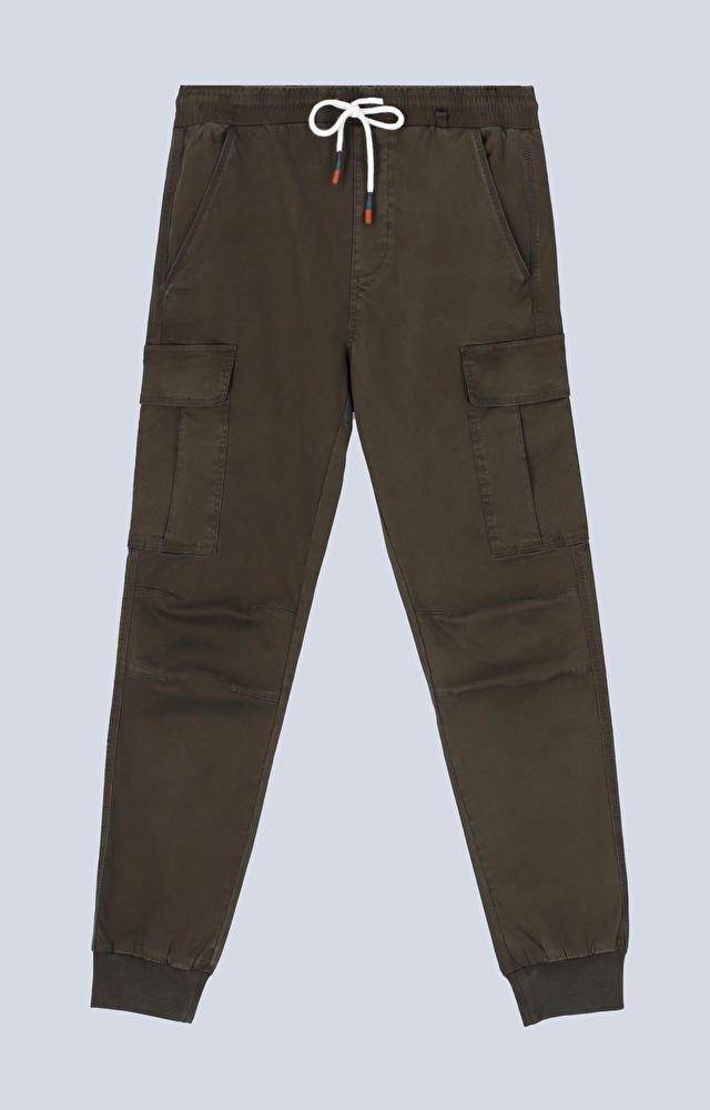 Bawełniane spodnie ze ściągaczem, wiązane na sznurek