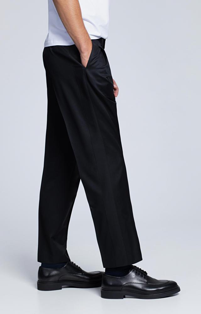 Szerokie spodnie z wełny i moheru, z lampasami