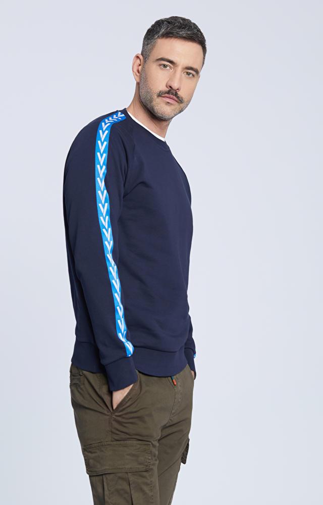 Bawełniana bluza z ozdobnymi lampasami na rękawach