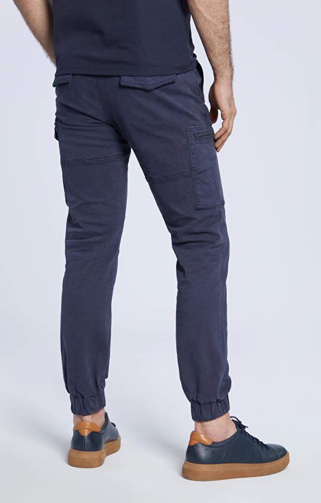 Bawełniane spodnie ze ściągaczem, zapinane na guzik