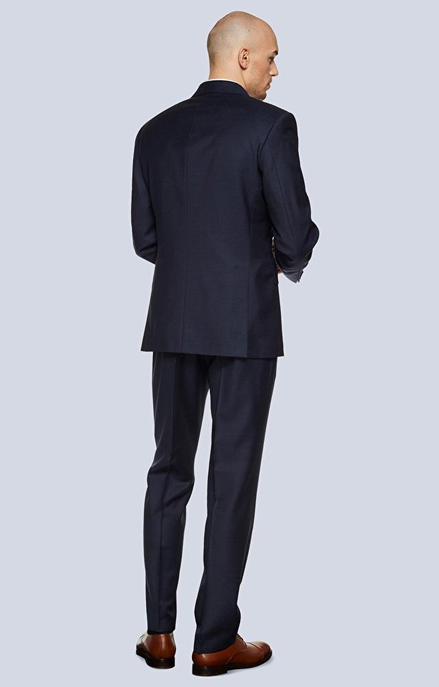 Luźny, wełniany garnitur w mikrowzór
