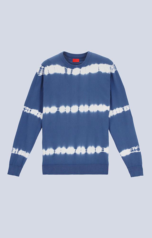 Bawełniany sweter typu round-neck, farbowany ręcznie