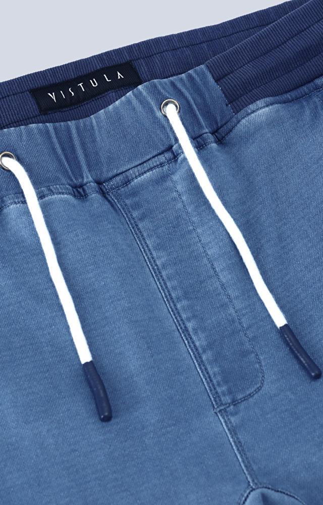 Spodnie jeansowe ze ściągaczem, wiązane na sznurek