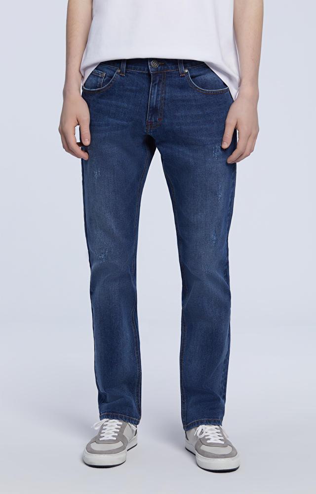 Luźne jeansy z prostymi nogawkami
