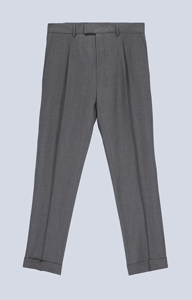 Wełniane spodnie z zakładką i mankietami