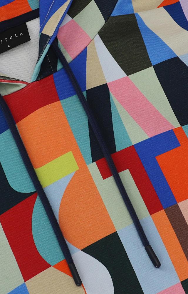 Wielokolorowa bluza z kapturem