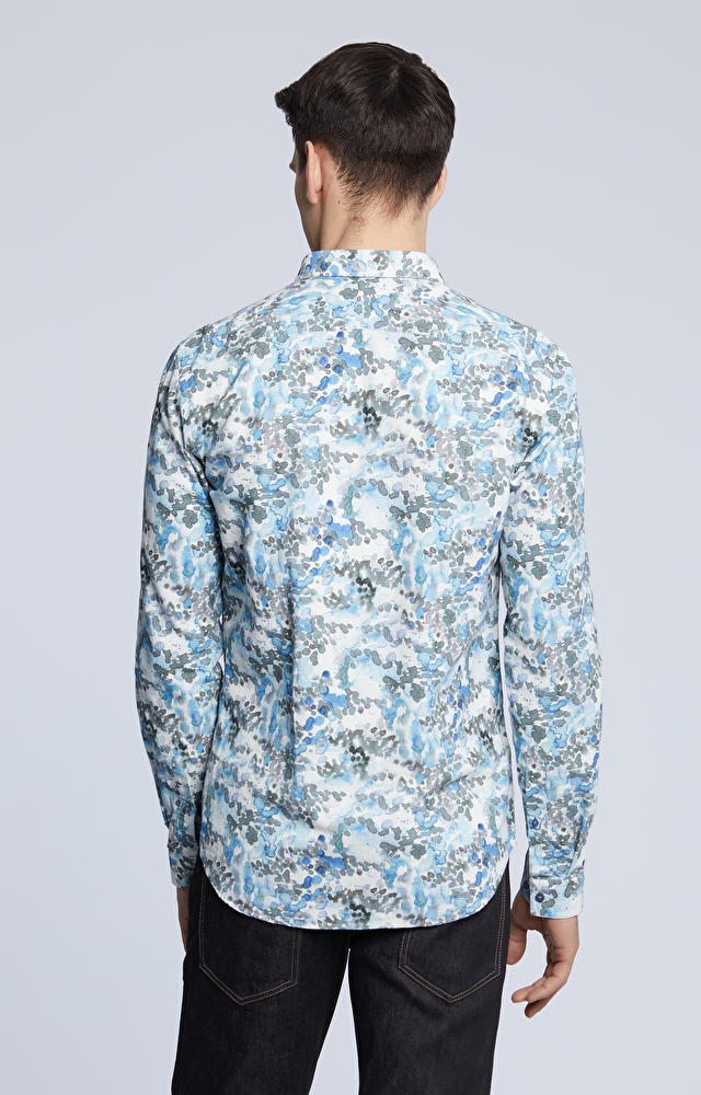 Dopasowana koszula w print, kołnierz kryte button-down