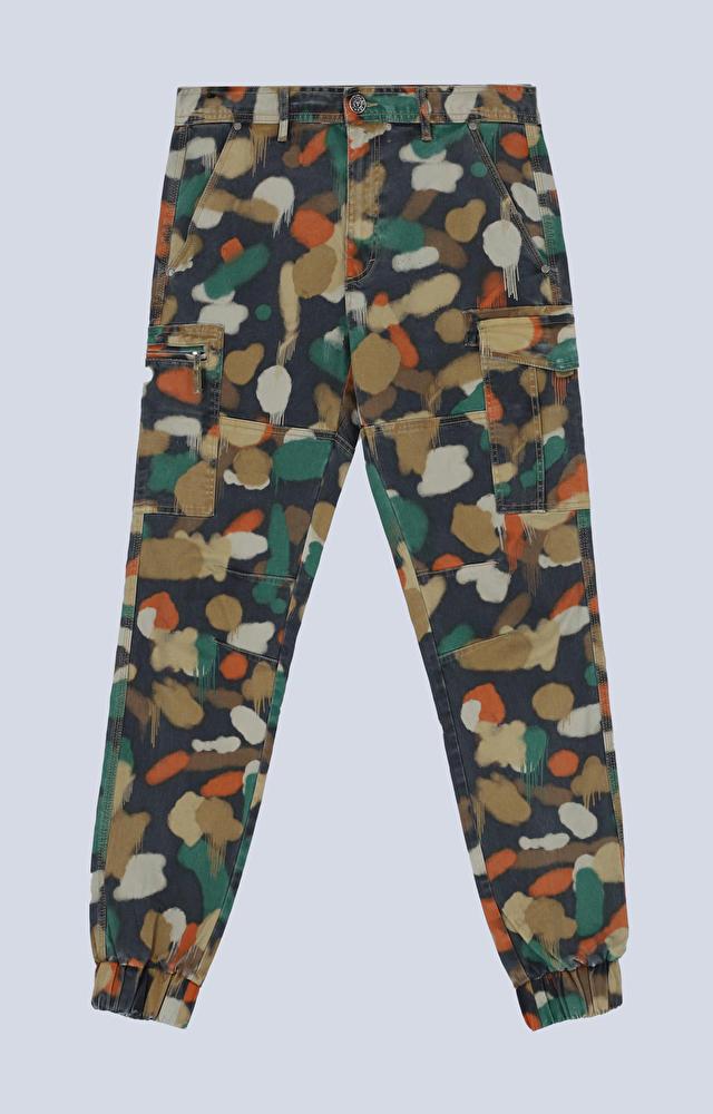 Bawełniane spodnie ze ściągaczem z nadrukiem moro