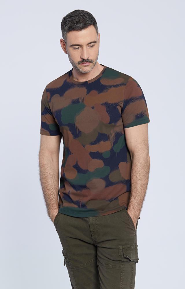T-shirt z nadrukiem moro