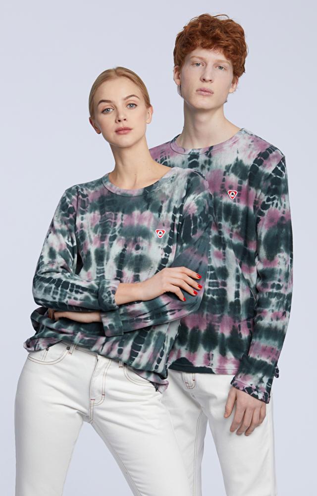 Koszulka z długim rękawem farbowana ręcznie