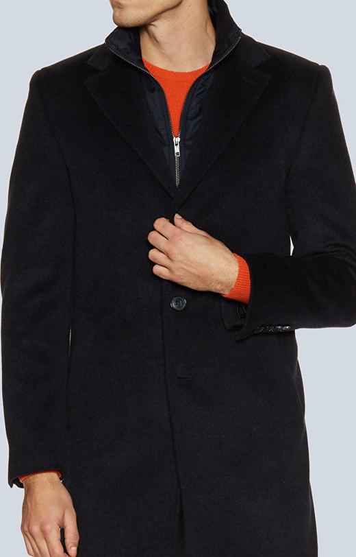Jednorzędowy płaszcz z tkaniny z dodatkiem kaszmiru