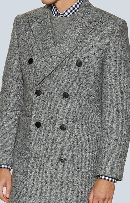 Dwurzędowy płaszcz z wełny casentino