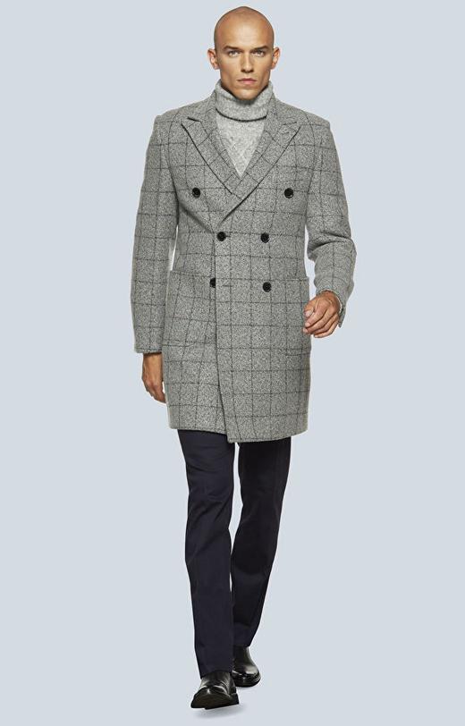 Dwurzędowy, wełniany płaszcz w kratę