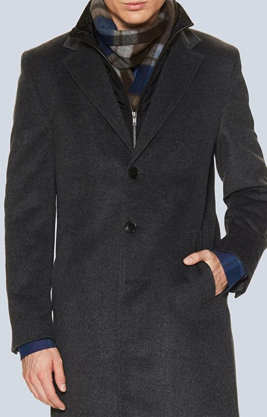 Jednorzędowy płaszcz z dodatkiem kaszmiru