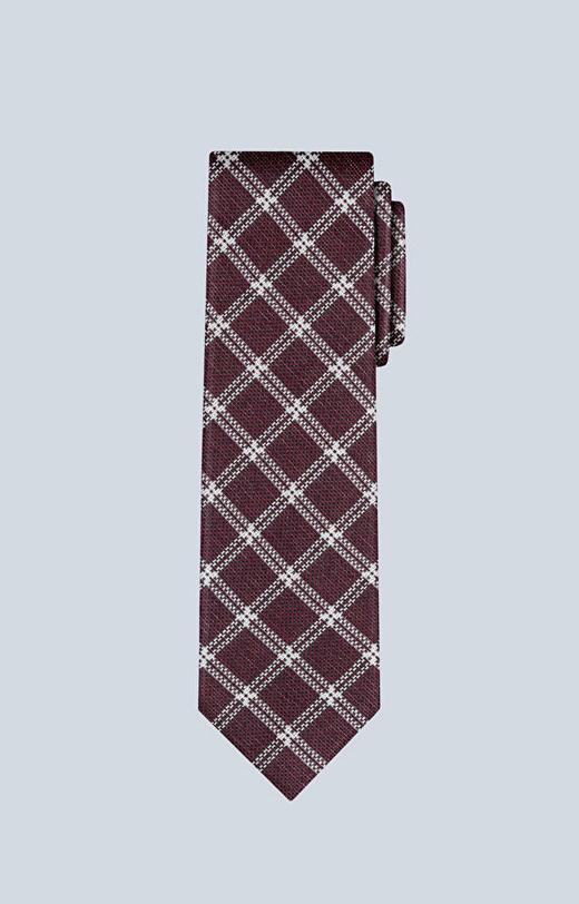 Bawełniany krawat w kratę z dodatkiem jedwabiu