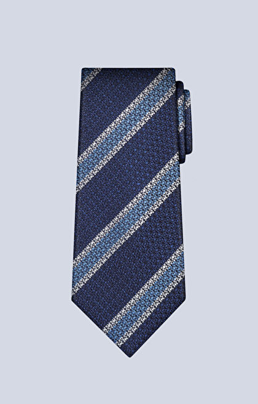 Jedwabny krawat w paski z dodatkiem bawełny
