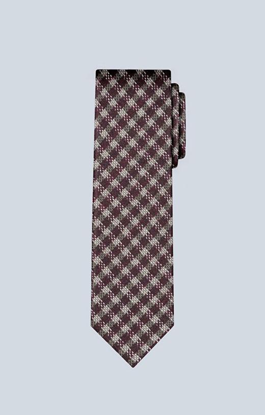 Krawat w kratę z wełny i jedwabiu