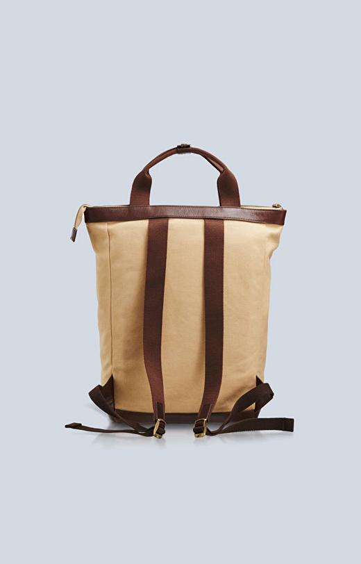 Plecak z bawełny i skóry