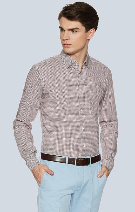 Dopasowana koszula w geometryczny wzór, kołnierz kryte button-down