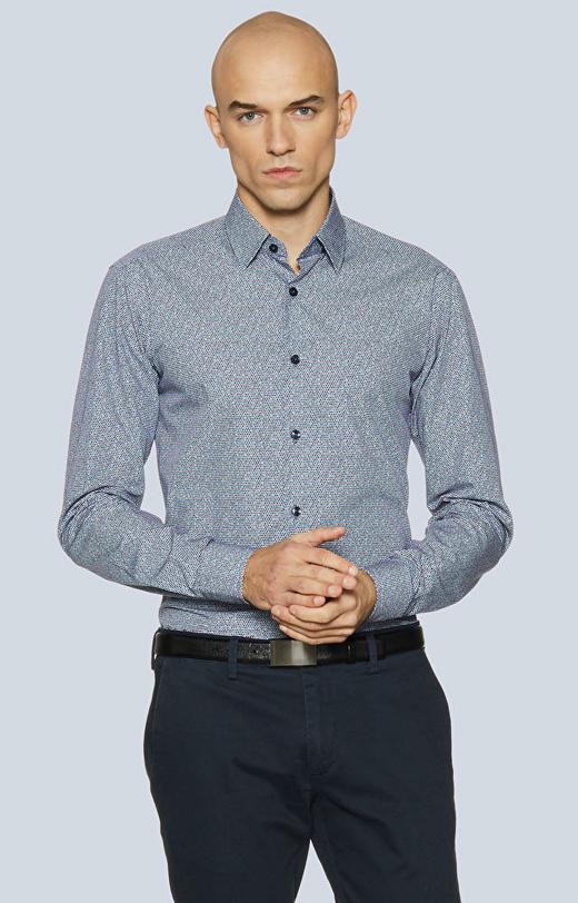 Koszula w print z kołnierzem kryte button-down