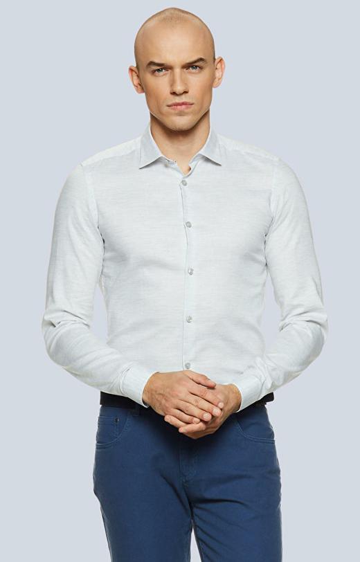 Dopasowana koszula z melanżowej tkaniny z półwłoskim kołnierzem