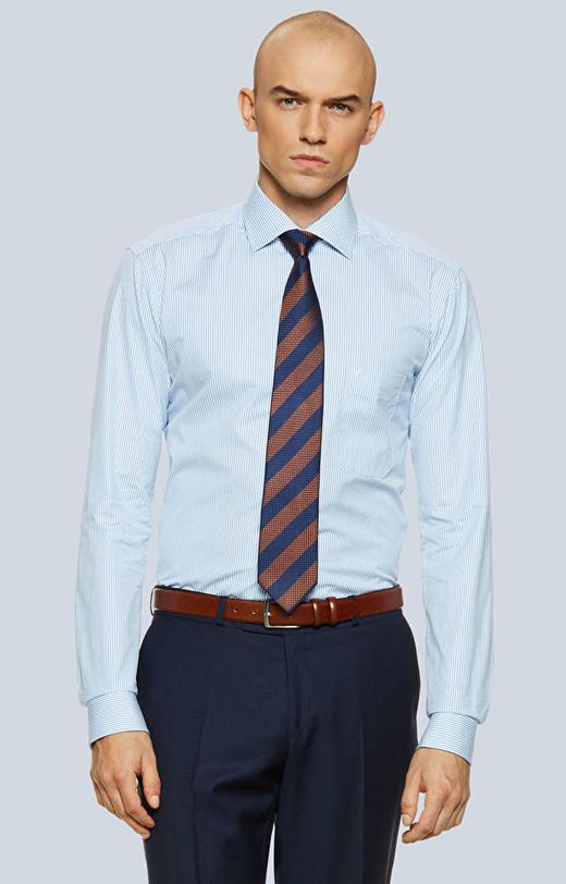 Koszula w paski z kieszonką, półwłoski kołnierz
