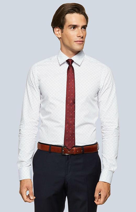 Dopasowana koszula w geometryczny wzór z kołnierzem typu kryte button-down