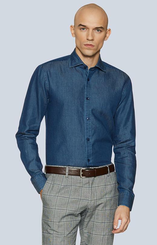 Koszula z tkaniny denimowej z włoskim kołnierzem
