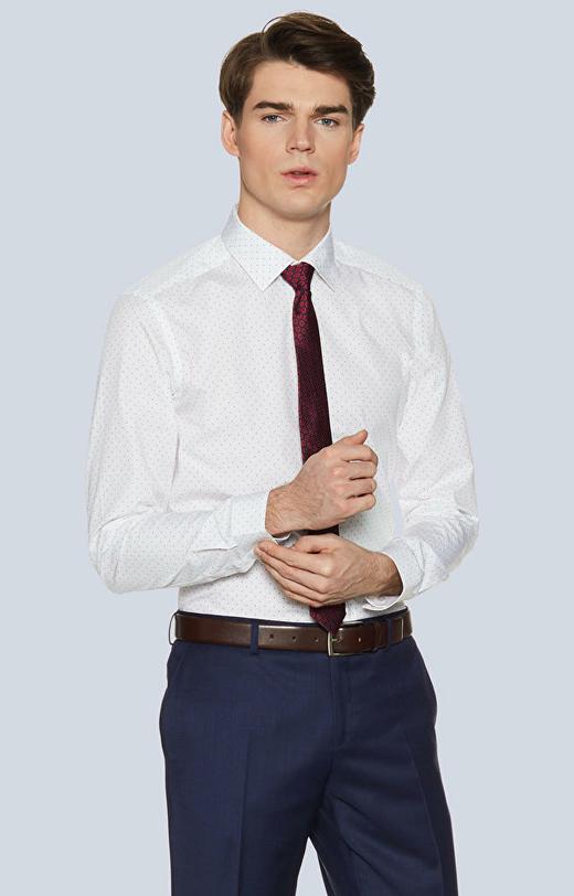 Dopasowana koszula w kropki, kołnierz kryte button-down