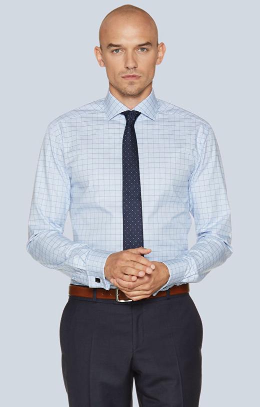Koszula na spinki w kratę, włoski kołnierz