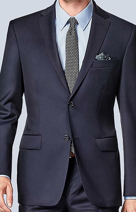 Garnitur szerszym kroju z wełnianej tkaniny o diagonalnym splocie