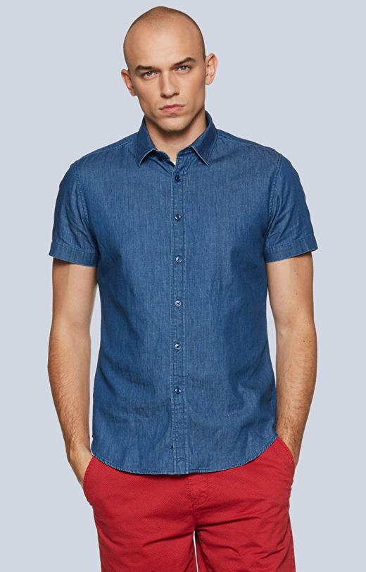 Dopasowana koszula  w kropki z krótkim rękawem, kołnierz kryte button-down
