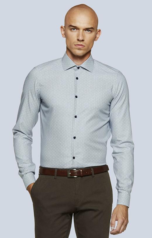 Dopasowana koszula w geometryczny wzór, włoski kołnierz