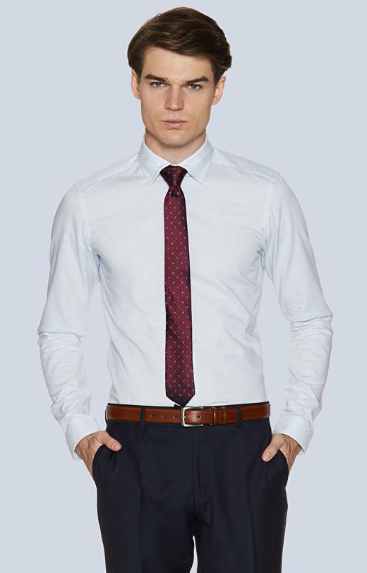 Dopasowana koszula w mikrowzór, kołnierz kryte button-down