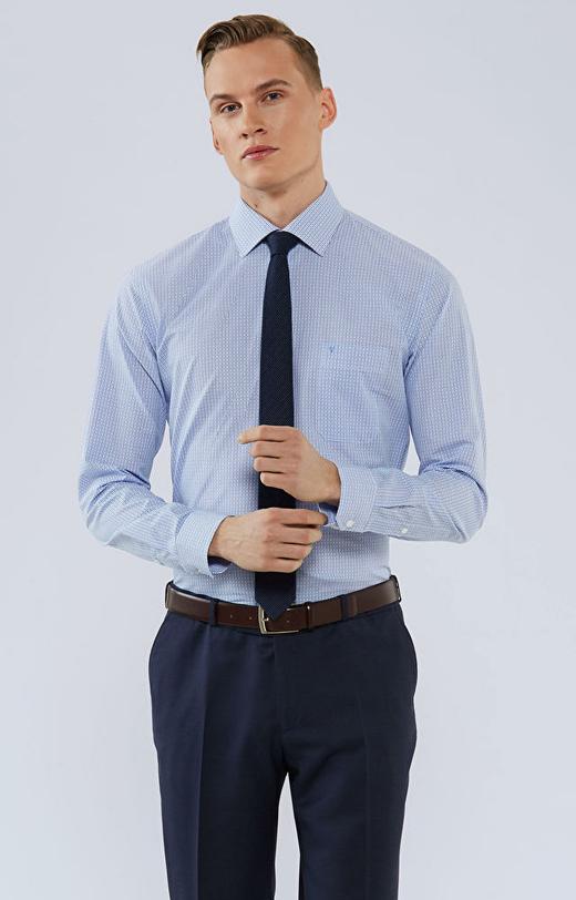 Koszula w mikrowzór, z kieszonką, włoski kołnierz