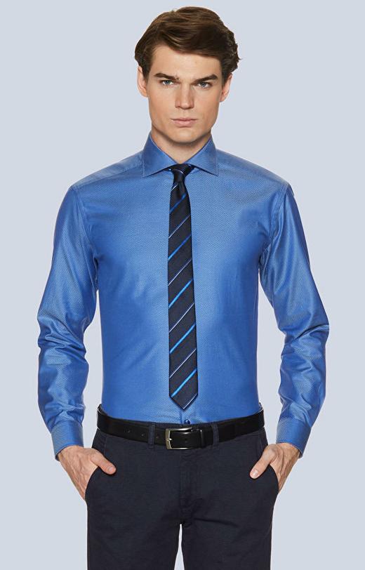 Koszula o diagonalnym splocie, włoski kołnierz