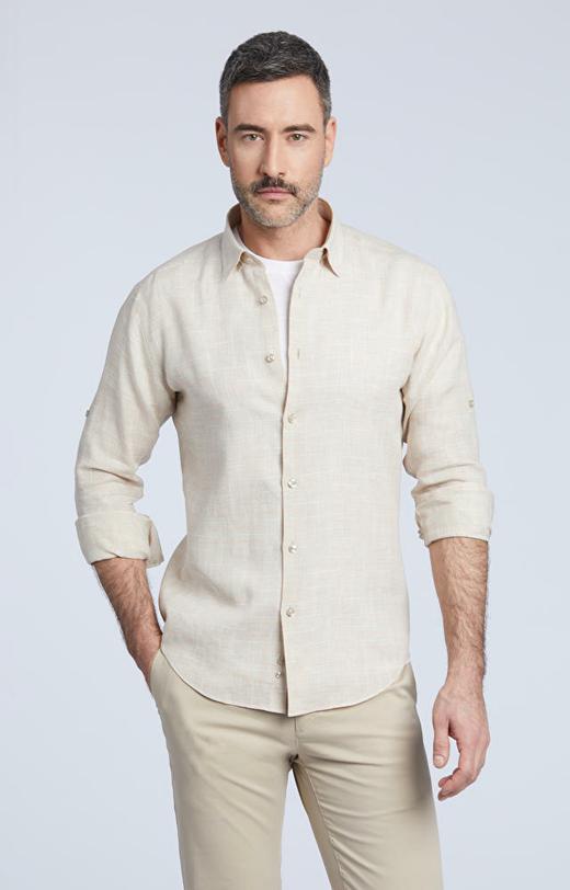 Lniana koszula, kołnierz kryty button down
